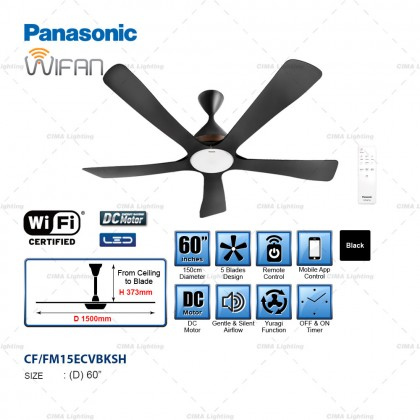 "PANASONIC WIFAN F-M15ECVBKSH / F-M15GCVBKSH 60"" LED/NON-LED WIFI CONNECTION MOBILE APP CONTROL CEILING FAN"