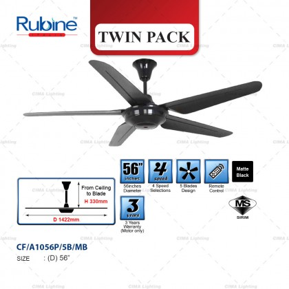 """RUBINE ABLE ACF-A1056-5B-MB 56"""" 4 SPEEDS 5 ABS BLADE REMOTE CONTROL CEILING FAN"""